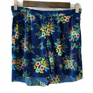 Hot Miami Styles Blue Floral Print Shorts